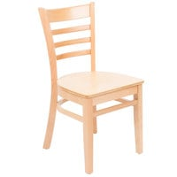 Lancaster Table & Seating Natural Finish Wooden Ladder Back Cafe Chair - Detached Seat
