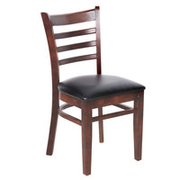 Lancaster Table & Seating Mahogany Finish Wooden Ladder Back Chair with 2 1/2 inch Padded Seat - Detached Seat