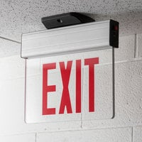 Lavex Industrial LED Edge Lit Red Exit Sign with Adjustable Arrows and Ni-Cad Battery Backup - 12 Watt Unit
