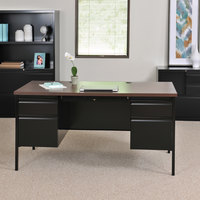Hirsh Industries 20101 Black / Walnut Double Pedestal Desk - 60 inch x 30 inch x 29 1/2 inch