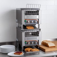 Avatoast T3300D2S Double Stacked Commercial 10 inch Wide Conveyor Toaster with 3 inch Opening - 240V, 6600W, 1600 Slices per Hour