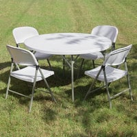 Lancaster Table & Seating 48 inch Round Heavy Duty Granite White Plastic Bi-Folding Table