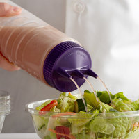 Vollrath 3324-1354 Traex® Color-Mate™ 24 oz. Clear Tri Tip™ Ridged Wide Mouth Squeeze Bottle with Purple Cap