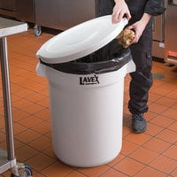 Lavex Janitorial 32 Gallon White Round Ingredient Bin / Commercial Trash Can Lid