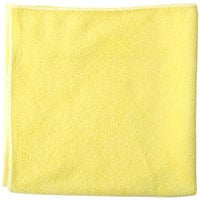 Unger MF40J SmartColor MicroWipe 16 inch x 15 inch Yellow Heavy-Duty Microfiber Cleaning Cloth   - 10/Pack