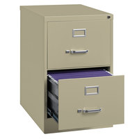 Hirsh Industries 14412 Putty Two-Drawer Vertical Legal File Cabinet - 18 inch x 25 inch x 28 3/8 inch