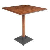 Lancaster Table & Seating 36 inch x 36 inch Solid Wood Live Edge Bar Height Table with Antique Walnut Finish