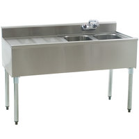 Eagle Group B4L-2-18 Compartment Underbar Sink with 24 inch Left Drainboard and Splash Mount Faucet - 48 inch