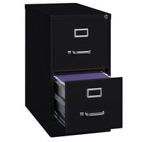 Hirsh Industries 14410 Black Two-Drawer Vertical Letter File Cabinet - 15 inch x 25 inch x 28 3/8 inch