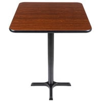 Lancaster Table & Seating Bar Height Table with 30 inch x 30 inch Reversible Walnut / Oak Table Top and Cross Base Plate