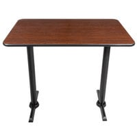 Lancaster Table & Seating Bar Height Table with 30 inch x 48 inch Reversible Walnut / Oak Table Top and Straight Base Plates