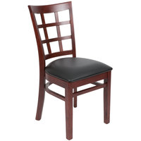 Lancaster Table & Seating Mahogany Wooden Window Back Chair with 2 1/2 inch Padded Seat - Detached Seat