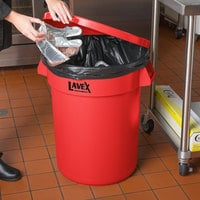 Lavex Janitorial 32 Gallon Red Round Commercial Trash Can Lid