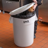 Lavex Janitorial 44 Gallon White Round Ingredient Bin / Commercial Trash Can Lid