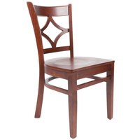 Lancaster Table & Seating Mahogany Finish Wooden Diamond Back Cafe Chair - Detached Seat