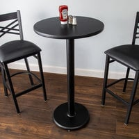 Lancaster Table & Seating Bar Height Table with 24 inch Round Reversible Cherry / Black Table Top and Round Base Plate