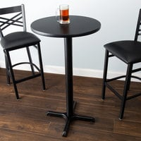 Lancaster Table & Seating Bar Height Table with 24 inch Round Reversible Cherry / Black Table Top and Cross Base Plate