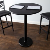 Lancaster Table & Seating Bar Height Table with 30 inch Round Reversible Cherry / Black Table Top and Round Base Plate