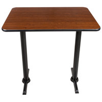 Lancaster Table & Seating Bar Height Table with 30 inch x 42 inch Reversible Walnut / Oak Table Top and Straight Base Plates