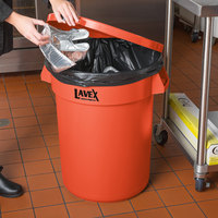 Lavex Janitorial 32 Gallon Orange Round Commercial Trash Can Lid