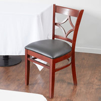 Lancaster Table & Seating Mahogany Diamond Back Chair with 2 1/2 inch Padded Seat - Detached Seat