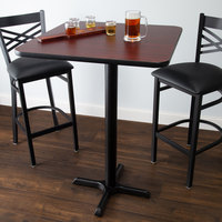 Lancaster Table & Seating Bar Height Table with 30 inch x 30 inch Reversible Cherry / Black Table Top and Cross Base Plate