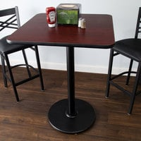 Lancaster Table & Seating Bar Height Table with 30 inch x 30 inch Reversible Cherry / Black Table Top and Round Base Plate