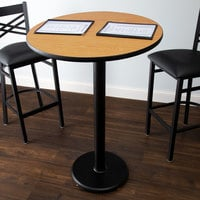 Lancaster Table & Seating Bar Height Table with 30 inch Round Reversible Walnut / Oak Table Top and Round Base Plate