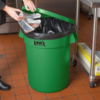 Lavex Janitorial 32 Gallon Green Round Commercial Trash Can Lid
