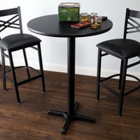 Lancaster Table & Seating Bar Height Table with 30 inch Round Reversible Cherry / Black Table Top and Cross Base Plate