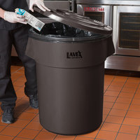 Lavex Janitorial 55 Gallon Brown Round Commercial Trash Can Lid