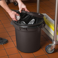 Lavex Janitorial 10 Gallon Brown Round Commercial Trash Can Lid