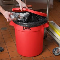 Lavex Janitorial 20 Gallon Red Round Commercial Trash Can Lid