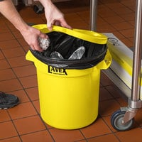 Lavex Janitorial 10 Gallon Yellow Round Commercial Trash Can Lid