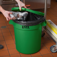 Lavex Janitorial 20 Gallon Green Round Commercial Trash Can Lid