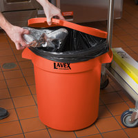 Lavex Janitorial 20 Gallon Orange Round Commercial Trash Can Lid