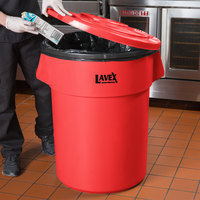 Lavex Janitorial 55 Gallon Red Round Commercial Trash Can Lid