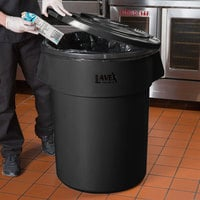 Lavex Janitorial 55 Gallon Black Round Commercial Trash Can Lid