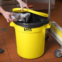 Lavex Janitorial 20 Gallon Yellow Round Commercial Trash Can Lid