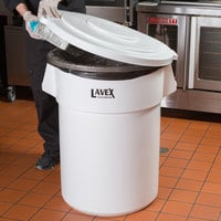 Lavex Janitorial 55 Gallon White Round Ingredient Bin / Commercial Trash Can Lid