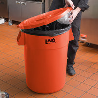 Lavex Janitorial 44 Gallon Orange Round Commercial Trash Can Lid