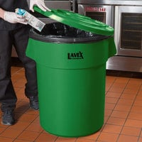 Lavex Janitorial 55 Gallon Green Round Commercial Trash Can Lid