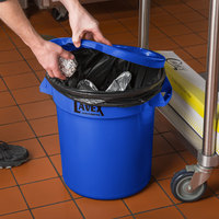 Lavex Janitorial 10 Gallon Blue Round Commercial Trash Can Lid