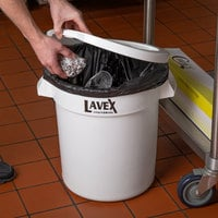 Lavex Janitorial 10 Gallon White Round Ingredient Bin / Commercial Trash Can Lid