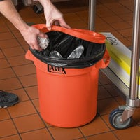 Lavex Janitorial 10 Gallon Orange Round Commercial Trash Can Lid