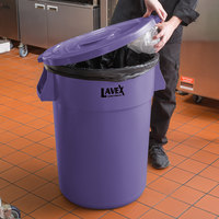 Lavex Janitorial 44 Gallon Purple Round Commercial Trash Can Lid