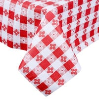 Intedge Red Checkered Gingham Vinyl Table Cover with Flannel Back, 25 Yard Roll