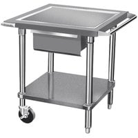 Advance Tabco AG-MP-30 24 inch x 30 inch Stainless Steel Mobile Mixer Table with Galvanized Undershelf