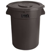 Lavex Janitorial 32 Gallon Brown Round Commercial Trash Can and Lid