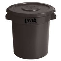 Lavex Janitorial 10 Gallon Brown Round Commercial Trash Can and Lid